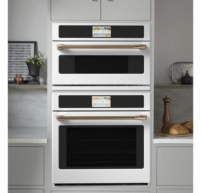 csb913p4nw2 cafe 30 five in one single wall oven microwave combo with 20 reheat programs and advantium technology matte white with brushed bronze