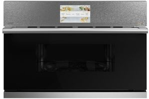 "CSB923M2NS5 Cafe 30"" Modern Glass Collection Five In One Single Wall Oven Microwave Combo with 20 Reheat Programs and Advantium Technology - Platinum with Brushed Stainless Steel Handle"