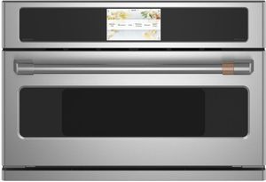 "CSB923P2NS1 Cafe 30"" Five In One Single Wall Oven Microwave Combo with 20 Reheat Programs and Advantium Technology - Stainless Steel with Brushed Stainless Steel Handle"