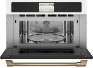 """CSB923P4NW2 Cafe 30"""" Five In One Single Wall Oven Microwave Combo with 20 Reheat Programs and Advantium Technology - Matte White with Brushed Bronze Handle"""