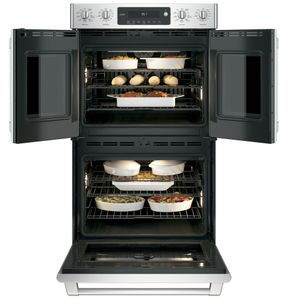 "CT9570SLSS Cafe 30"" Built-In Double Convection Wall Oven with Wi-Fi Connect and Electric Dial Controls - Stainless Steel"