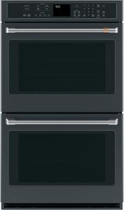 "CTD90DP3MD1 Cafe 30"" Double Electric Wall Oven with Steam-Self Clean and Wi-Fi Connect - Matte Black with Brushed Stainless Handles"