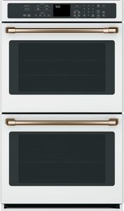 "CTD90DP4MW2 Cafe 30"" Double Electric Wall Oven with Steam-Self Clean and Wi-Fi Connect - Matte White with Brushed Bronze Handles"