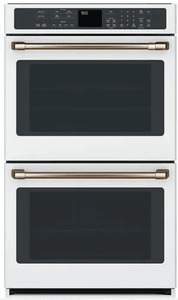 """CTD90DP4MW2 Cafe 30"""" Double Electric Wall Oven with Steam-Self Clean and Wi-Fi Connect - Matte White with Brushed Bronze Handles"""