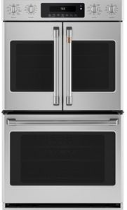 """CTD90FP2MS1 Cafe 30"""" Double French Door Electric Wall Oven with True European Convection and Wi-Fi Connect - Stainless Steel with Brushed Stainless Steel Handles and Knobs"""