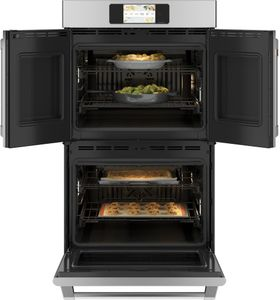 "CTD90FP2NS1 Cafe 30"" Professional Series Double French Door Electric Wall Oven with True Convection and Full Color Display - Stainless Steel with Brushed Stainless Steel Handles and Knobs"