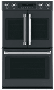 "CTD90FP3MD1 Cafe 30"" Double French Door Electric Wall Oven with True European Convection and Wi-Fi Connect - Matte Black with Brushed Stainless Handles"