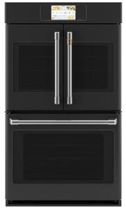 "CTD90FP3ND1 Cafe 30"" Professional Series Double French Door Electric Wall Oven with True Convection and Full Color Display - Matte Black with Brushed Stainless Steel Handles and Knobs"