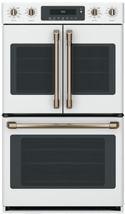 "CTD90FP4MW2 Cafe 30"" Double French Door Electric Wall Oven with True European Convection and Wi-Fi Connect - Matte White with Brushed Bronze Handles and Knobs"