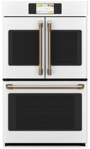 "CTD90FP4NW2 Cafe 30"" Professional Series Double French Door Electric Wall Oven with True Convection and Full Color Display - Matte White with Brushed Bronze Handles and Knobs"