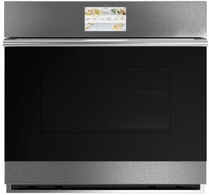 """CTS70DM2NS5 Cafe 30"""" Modern Glass Collection Electric Single Wall Oven with Top-Down True Convection and Full Color Display - Platinum Glass with Brushed Stainless Steel Handle"""