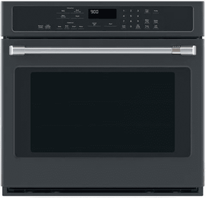 "CTS90DP3MD1 Cafe 30"" Single Electric Wall Oven with True European Convection and Steam Self-Clean - Matte Black with Brushed Stainless Handle"