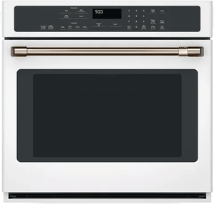 """CTS90DP4MW2 Cafe 30"""" Single Electric Wall Oven with True European Convection and Steam Self-Clean - Matte White with Brushed Bronze Handle"""