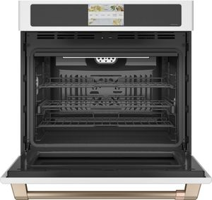 """CTS90DP4NW2 Cafe 30"""" Professional Series Smart Built In Convection Single Wall Oven - Matte White with Brushed Bronze Handle"""