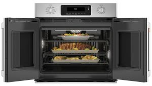 "CTS90FP2MS1 GE Cafe 30"" Single French Door Electric Wall Oven with True European Convection and Wi-Fi Connect - Stainless Steel with Brushed Stainless Steel Handles and Knobs"