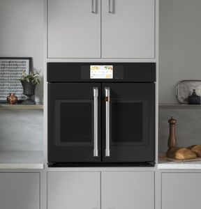 """CTS90FP3ND1 Cafe 30"""" Professional Series Single French Door Electric Wall Oven with True European Convection and Wi-Fi Connect - Matte Black with Brushed Stainless Handles"""