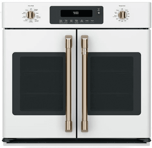"""CTS90FP4MW2 Cafe 30"""" Single French Door Electric Wall Oven with True European Convection and Wi-Fi Connect - Matte White with Brushed Bronze Handles and Knobs"""