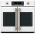 "CTS90FP4MW2 Cafe 30"" Single French Door Electric Wall Oven with True European Convection and Wi-Fi Connect - Matte White with Brushed Bronze Handles and Knobs"