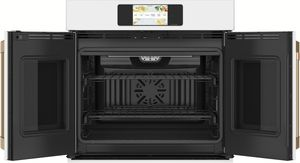 """CTS90FP4NW2 Cafe 30"""" Professional Series Single French Door Electric Wall Oven with True European Convection and Wi-Fi Connect - Matte White with Brushed Bronze Handles"""