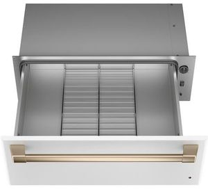 "CTW900P4NW2 Cafe 30"" Warming Drawer with Variable Humidity Control and Variable Temperature Control - Matte White  with Brushed Bronze Handle"