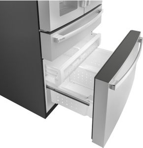 """CVE28DM5NS5 Cafe 36"""" Modern Glass Collection French Door Refrigerator with TwinChill Evaporators and Wifi - Platinum Glass"""