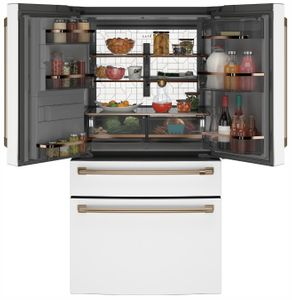 "CVE28DP4NW2 Cafe 36"" French Door Refrigerator with TwinChill Evaporators and Wifi - White with Brushed Bronze Handles"