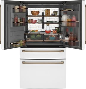 """CVE28DP4NW2 Cafe 36"""" French Door Refrigerator with TwinChill Evaporators and Wifi - White with Brushed Bronze Handles"""