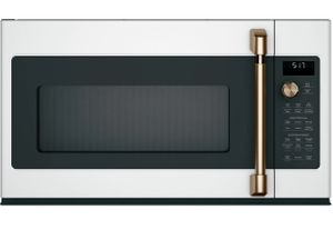"""CVM517P4MW2 Cafe 30"""" Over-the-Range Convection Microwave Oven with Recessed Turn Table and Auto Bake - Matte White with Brushed Bronze Handle"""