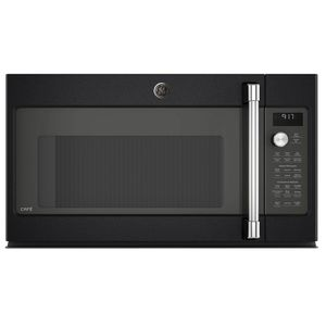 "CVM9179ELDS GE 30"" Cafe Series 1.7 cu. ft. Convection Over-the-Range Microwave Oven with Steam Cook Button and LED Cooktop Lighting - Black Slate"