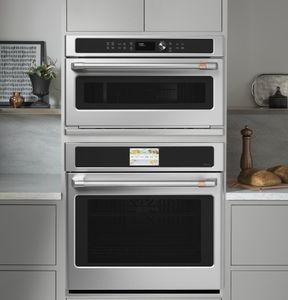 "CWB713P2NS1 Cafe 30"" Five In One Single Wall Oven Microwave Combo with My Cycle and Glass Touch Controls - Stainless Steel"