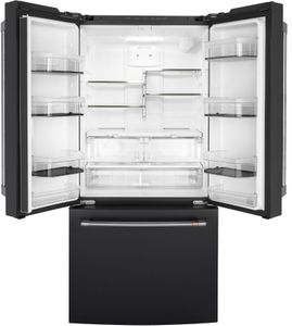 "CWE19SP3ND1 Cafe 33"" Counter Depth French Door Refrigerator with LED Lighting and Internal Water Dispenser - Matte Black with Brushed Stainless Steel Handles"