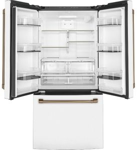"CWE19SP4NW2 Cafe 33"" Counter Depth French Door Refrigerator with LED Lighting and Internal Water Dispenser - Matte White with Bronze Brushed Handles"