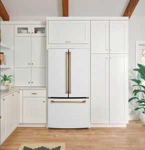 """CWE19SP4NW2 Cafe 33"""" Counter Depth French Door Refrigerator with LED Lighting and Internal Water Dispenser - Matte White with Bronze Brushed Handles"""