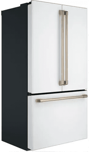 """CWE23SP4MW2 Cafe Series 36"""" Counter Depth French Door Refrigerator with TwinChill Evaporators and Wi-Fi Connect - Matte White with Brushed Bronze Handles"""