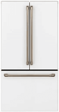 "CWE23SP4MW2 GE Cafe Series 36"" Counter Depth French Door Refrigerator with TwinChill Evaporators and Wi-Fi Connect - Matte White with Brushed Bronze Handles"