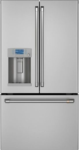 "CYE22TP2MS1 Cafe 36"" Counter Depth French Door Refrigerator with TwinChill Evaporators and Hot Water Dispenser - Stainless Steel with Brushed Stainless Steel Handles"
