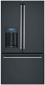 """CYE22TP3MD1 Cafe 36"""" Counter Depth French Door Refrigerator with External Dispenser and Wi-Fi Connect - Matte Black with Brushed Stainless Handles"""