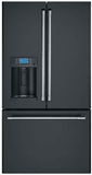 "CYE22TP3MD1 GE Cafe Series 36"" Counter Depth French Door Refrigerator with External Dispenser and Wi-Fi Connect - Matte Black with Brushed Stainless Handles"