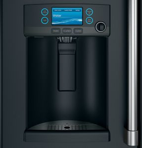 "CYE22TP3MD1 Cafe 36"" Counter Depth French Door Refrigerator with External Dispenser and Wi-Fi Connect - Matte Black with Brushed Stainless Handles"