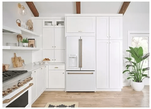 """CYE22TP4MW2 Cafe 36"""" Counter Depth French Door Refrigerator with External Dispenser and Wi-Fi Connect - Matte White with Brushed Bronze Handles"""