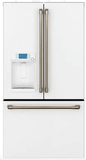 "CYE22TP4MW2 Cafe 36"" Counter Depth French Door Refrigerator with External Dispenser and Wi-Fi Connect - Matte White with Brushed Bronze Handles"