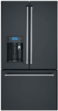 "CYE22UP3MD1 Cafe 36"" Counter Depth French Door Refrigerator with Keurig Brewing System and Wi-Fi Connect - Matte Black with Brushed Stainless Handles"
