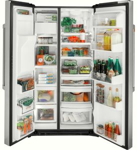 """CZS22MP2NS1 Cafe 36"""" Counter Depth Side by Side Refrigerator with Turbo Cool Setting and Spillproof Glass Shelves - Stainless Steel with Brushed Stainless Steel Handles"""