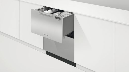 """DD24DAX9N 24"""" Fisher & Paykel Full Console Double Drawer Dishwasher with Quick Wash and 2 Cutlery Basket - Stainless Steel"""