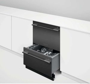 "DD24DD2FTB9N 24"" Fisher & Paykel Series 7 Contemporary Tall Double Dish Drawer - Black Stainless Steel"