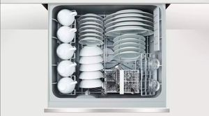 """DD24SCTW9N 24"""" Fisher & Paykel Full Console Single Tall Drawer Dishwasher with Child Lock and 2 Cutlery Basket - White"""