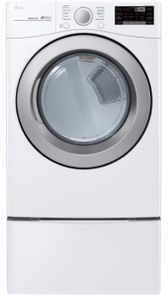 """DLE3500W LG 27"""" 7.4 Cu. Ft. Ultra Large Capacity Smart WiFi Enabled Electric Dryer with SmartThinQ Technology and Smart Diagnosis - White"""