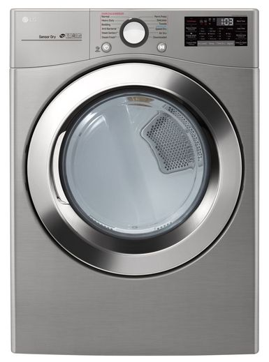 """DLEX3700V LG 27"""" 7.4 Cu. Ft. Ultra Large Capacity Smart WiFi Enabled Electric Steam Dryer with SmartThinQ Technology and SmartDiagnosis - Graphite Steel"""