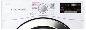 "DLGX3701W LG 27"" 7.4 Cu. Ft. Ultra Large Capacity Smart WiFi Enabled Gas Steam Dryer with SmartThinQ Technology and SmartDiagnosis - White"