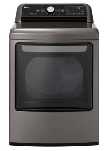 "DLGX7801VE 27"" LG 7.3 cu. ft. Top Load Gas Dryer with TurboSteam Technology and EasyLoad Door - Graphite Steel"